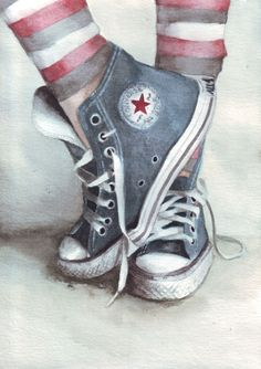 Original watercolor painting of Blue Converse All di HelgaMcL, Blue Converse, Converse All Star, Arte Pop, Painted Shoes, Shoe Art, Art Studios, Amazing Art, Watercolor Paintings, Watercolour