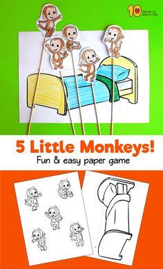 5 little monkeys printables Rhyming Activities, Preschool Worksheets, Kindergarten Activities, Activities For Kids, Nursery Rhymes Poems, Nursery Rhyme Crafts, Toddler Fun, Toddler Preschool, Toddler Crafts