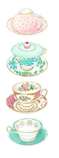 萌物 可爱 水粉画 陶瓷杯子 复古 碎花