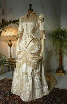 Victorian two piece wedding ensemble. Probably 1870's and undoubtedly silk.