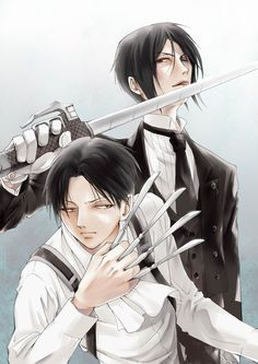 Attack on titan and black butler - Levi and Sebastian = one of the greatest things I've seen ❤