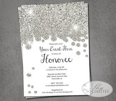 Silver Glitter Diamonds Invitation   Silvery, Glittery, Sparkle, Jewel, Bridal Shower, Wedding, Formal, Black Tie   Instant Download