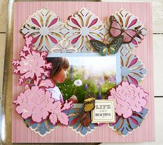 Garden ombre scrapbook page layout by Anna Griffin. Make It Now with the Cricut Explore machine in Cricut Design Space.