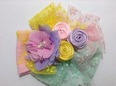 Mini rosas de listón en tiara para bebe  VIDEO No. 344