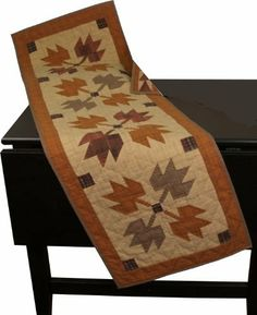 Autumn Leaves Runner by Choices Quilts. $47.00. Our heirloom quality quilts have small patches which are pieced together tightly, so they will not come apart even after years of use. All our quilts are hand quilted and made from all natural 100 % cotton with cotton batting and backing.. Our Table Runner are 100% cotton and hand-quilted to make your dining table inviting and perfect setting for any meal. Table Runner can also be use on top of shelves, benches or can be h...