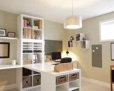 Setting for Four: 10 + Helpful Home Office Storage and Organizing Ideas. Ikea shelf units anchor a desk, home office design decor Home Office Storage, Home Office Space, Home Office Design, Home Office Decor, Home Decor, Office Ideas, Office Furniture, Office Designs, Office Setup