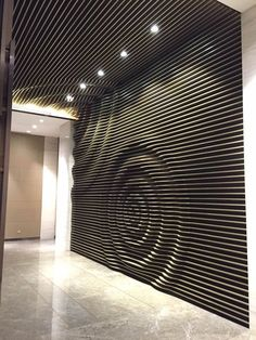 16 Modern And Minimalist Wall Art Decoration Ideas - fancydecorsThere is a lot of texture on this wall. The circular shape that is made really catches your eye and makes you want to touch the wall.picture, portrait or smit logoLaser cut, make into pulsati Wooden Walls, Metal Walls, Wood Wall Art, Wall Art Decor, Room Decor, Modern Wall Decor, Karton Design, Plafond Design, Parametric Design