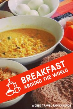 A look at breakfast around the world. Typical, unusual, delicious, traditional, and weird breakfasts from many countries world-wide. Breakfast food and foods eaten around the globe. Breakfast meals international. Breakfast Around The World, Around The World Food, Around The Worlds, Breakfast Meals, Family Travel, Countries, Globe, Weird, Curry