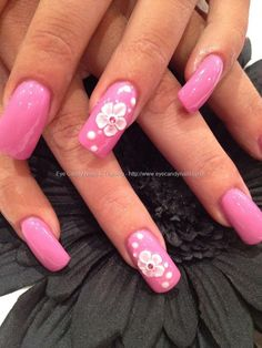 Gel polish with acrylic 3D flower nail art