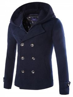 ceddca910813 Faux Twinset Double Breasted Hooded Coat - CADETBLUE - L