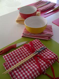 detalle de los preparativos del taller de cocina de iniciación al sushi