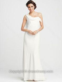 Sheath/Column Straps Chiffon Floor-length White Draped Wedding Dresses