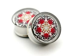 Red Floral Design Picture Plugs gauges  by mysticmetalsorganics, $19.99