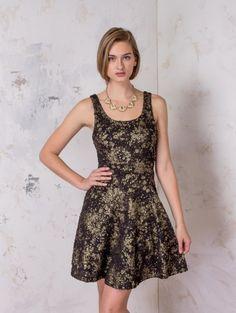 Gold Brush Textured Dress - Grae Apparel