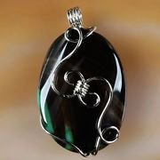 Wire Wrap Black with a hint of Green Onyx Agate Pendant with a choice of a 18 or 24 Silver Plated Chain