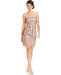Adrianna Papell Strapless Lace Sheath - Dresses - Women - Macy's