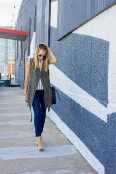 duster vest, striped shirt and skinny jeans, fall fashion —via @TheFoxandShe