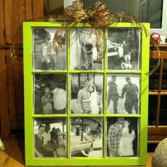 Window pane painted and black and white photos added like a picture frame. I'd love to claim this but my fianc made it crafty