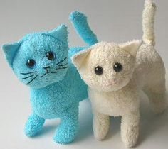 Pattern for making these adorable kitties from a towel / washcloth! via dollmaker - sewing
