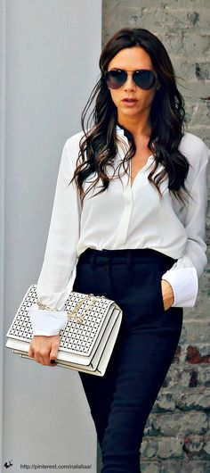 Simple, classic outfit with an eye catching bag