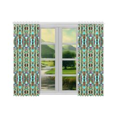 """Annabellerockz-spring-green-curtain 52x54 Window Curtain 52""""x84""""(Two... ($101) ❤ liked on Polyvore featuring home, home decor, window treatments, curtains, inspirational home decor, bright green curtains, patterned curtains and green leaf curtains"""