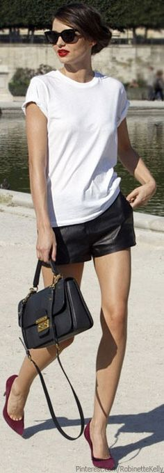 Super simple and cute, white tee, leather shorts and pop of color with the heels