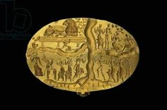 The 'Ring of Nestor' signet ring. Late Minoan Period, c.1700-1450 BC (gold) Minoan Kakovatos signet ring; the so-called 'Ring of Nestor'; showing four cult scenes. Weight: 31.8  Ashmolean Museum, University of Oxford, UK