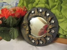 Vintage Mirror Surrounded by the Sun, Moon and Stars