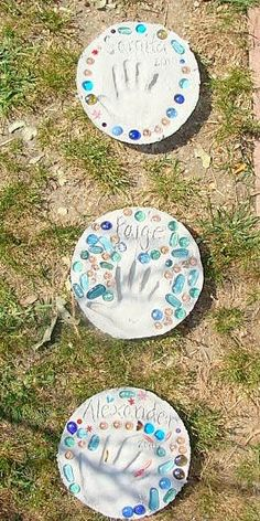 These are the adorable kid made stepping stones that were given as gifts for their moms for Mother's Day! If you'd like to make your own, check out the stepping stone tutorial.  I love how some of them put a few stones in perfect order and some just squished in as many stones as they could …
