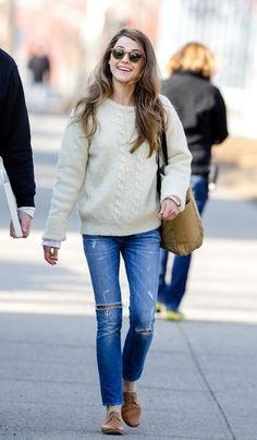 Distressed jeans chunky sweater