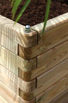 Bac à fleurs rectangulaire en bois Olea 150 - Dedans-Dehors