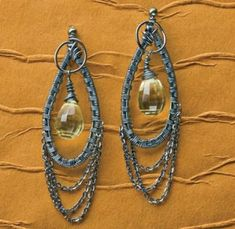 wire weaving earrings with gemstone briolettes by Deborah Gray-Wurz - from Wire Jewelry Making: Explore Basket Weaving Techniques with Wire Jewelry Artists - Jewelry Making Daily