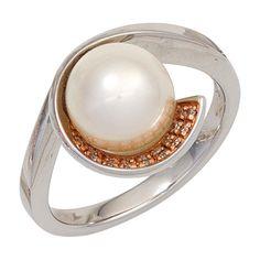 Damen Ring 585 Gold Weißgold 1 Süßwasser Perle 17 Diamanten Goldring A41711 56