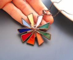 Contemporary, stained glass pendant, attractive, colorful and dynamic. This stained glass pendant is handcrafted, using the copper foil…
