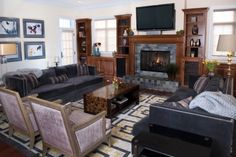 Elegant charcoal and lilac family room