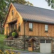 If you are into unique and interesting home designs, check out the Ponderosa Country Barn Home. Barn style houses and Rustic Barn Homes, Rustic Home Design, Pole Barn Homes, Cottage Design, House Design, Country Homes, Design Design, Timber Frame Garage, Timber Frame Homes