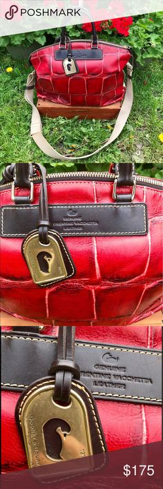 Dooney & Bourke Red Alligator Patterned Purse Stun with this gorgeous red purse. Made of soft but durable Florentine leather this alligator print purse will turn heads wherever you go. Made from a trusted and classic brand it has an adjustable canvas shoulder strap as well as a small leather hand held strap. Very minor wear, pictured.                                                               ✅Offers welcome through offer button ✅ Bundles welcome through bundle feature ✅ Questions or…