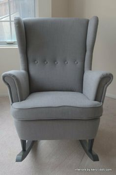 Turn a wingback chair into a rocking chair by adding pre-fabbed runners.  (This one is the IKEA Strandmon)