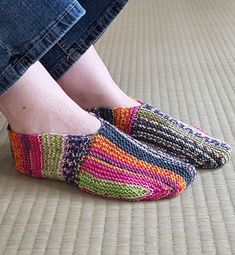 Free Knitting Pattern on Undecided Slippers - These slippers are knit mostly in garter stitch, but with an unusual bi-directional construction in two directions that showcases self-striping or variegated yarn. Designed by Sybil R Knitting Designs, Knitting Patterns Free, Knit Patterns, Free Knitting, Knitting Projects, Knitted Slippers, Knit Slippers Free Pattern, Striped Slippers, Garter Stitch