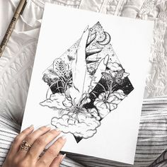 Black and white pattern drawing with clouds, stars and galaxy. Palmistry-inspired, and based on the element Air. Ink Drawing, chrome nails, duvet by Anthropologie.