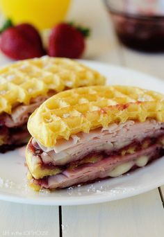 I'm sharing my spring brunch Monte Cristo Waffle Sandwiches as part of a spons. Easy Brunch Recipes, Wrap Recipes, Breakfast Recipes, Pancake Recipes, Brunch Ideas, Breakfast Dishes, Monte Cristo Sandwich, Waffle Maker Recipes, Delicious Sandwiches