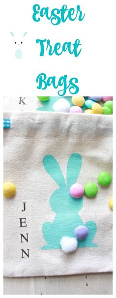 Treat Bags for Easter, Easter Place Cards. Monogrammed treat bags. Stenciled bunny. East treat bag.
