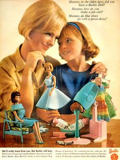 Barbie ad, 1965, and yes, you can wear blue shoes with a green dress....ah...memories sewing Barbie clothes with mom:)