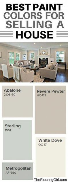 What are the best paint colors for selling your house. Best paint colors for selling your house. Best Paint Colors, Paint Colors For Home, Paint Colours, Living Room Paint Colors, Best Paint For Walls, Neutral Dining Room Paint, Neutral Living Room Colors, Best Greige Paint Color, Guest Room Paint