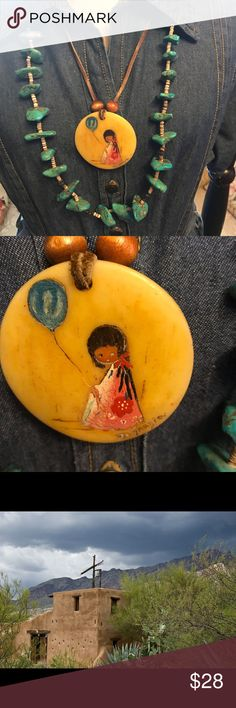 Beautiful DeGrazia necklace 1970's BoHo Chic This necklace was BoHo Chic before we knew that was even a thing. 😄 Classic DeGrazia will never be out of style. It will be an heirloom to pass on through your family. The last photo is Chapel at DeGrazia Gallery in the Sun. If you ever are in Tucson you should visit the museum. It's breathtaking & for me very spiritual. Thank you for viewing my listing! God bless you! ❤️❤️❤️ Vintage Jewelry Necklaces