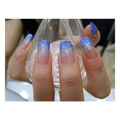 Sparkly Blue Gradient Nails found on Polyvore _PERFECT BLEND OF SILVER & ROYAL BLUE GLITTER! WINNER WINNER CHICKEN DINNER!
