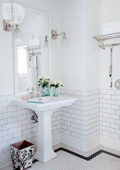 honeycomb/hexagonal floor tiles and white wall tiles with charcoal grout White Wall Tiles, White Bathroom Tiles, Bathroom Tile Designs, Bathroom Floor Tiles, Bathroom Renos, Bathroom Ideas, Bathroom Fixtures, Bathroom Colors, Bungalow Bathroom