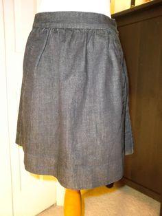 Women's J. Crew Dark Navy Blue Jean Skirt Size 2 EUC #JCrew #Pleated