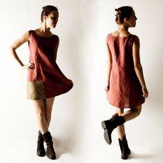 Linen tunic Red dress Linen dress Shift dress Tunic by larimeloom