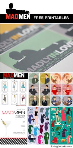 Mad Men Free Party Printables - Great free invitations, tags and more! @livinglocurto